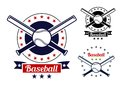 Baseball sport team badges red and black colored for logo and emblem design Stock Photo