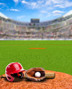 Baseball Stadium With Equipment and Copy Space