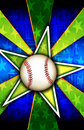 Baseball Star Burst Green Stock Photo