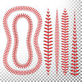 Baseball Stitches Vector. Lace From A Baseball Isolated On Transparent. Sports Ball Red Laces Set.