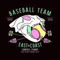 Baseball team emblem skull animal graphic design for t shirt color print on black background Royalty Free Stock Photography