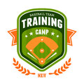 Baseball training camp emblem Stock Photo