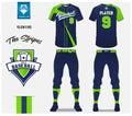 Baseball uniform, sport jersey, t-shirt sport, short, sock template. Baseball t-shirt mock up. Front and back view sport uniform.