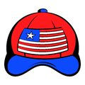 Baseball in the USA flag colors icon cartoon