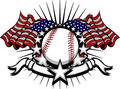 Baseball Vector Template with Flags and Stars Stock Image