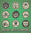 Baseball World Champion Labels Royalty Free Stock Photo