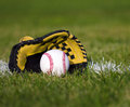 Baseball in yellow glove on the field with yard line and grass Royalty Free Stock Photo