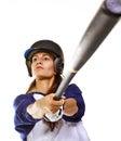 Baseballa uderzenie kijem gracza softballa kobieta Obrazy Royalty Free