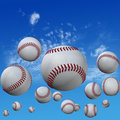 Baseballs set in High Cloud Sky Stock Photos