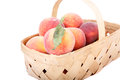 Basekt of peaches on white a basket fresh a background Stock Image