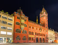 Basel town hall rathaus at night switzerland Royalty Free Stock Photography
