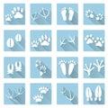 Basic animal footprints flat shadow icon set eps10 Royalty Free Stock Photo
