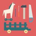 Basic CMYKVintage wooden horse and toy tools Royalty Free Stock Photo