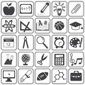 Basic education icons vector set black and white Royalty Free Stock Photography