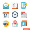 Basic flat icon set for web and mobile application news communications Royalty Free Stock Photos