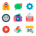 Basic flat icon set for web and mobile application vector eps Royalty Free Stock Photos