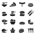 Basic food and drink icons set vector illustration Stock Photo