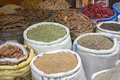 Basic foodstuff on a market in morocco africa Royalty Free Stock Images