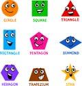 Basic Geometric Shapes with Cartoon Faces Royalty Free Stock Photo