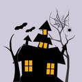 Basic halloween a black house with four windows and two bats flying near it with a spider Royalty Free Stock Images