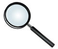 Basic hand lens or magnifying glass on white close up of a with black plastic frame and handle isolated background Royalty Free Stock Photos