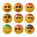 Emoticon showing basic human feelings and emotions with facial expressions and colors. Vector illustration.
