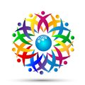 People globe team work logo partnership education celebration group work people diversity icon vector designs on white background