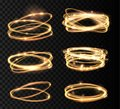 Set Golden glowing shiny spiral lines and circle light effect. Abstract Glowing light fire ring trace.