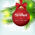 Christmas background with fir tree and red ball