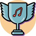 Trophy wings for music winner icon flat design