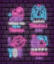 Set of Valentine`s day neon sign