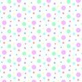 Seamless Colorful Polka Dots Pattern in White Background