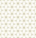 Seamless Golden Geometric Flowers and Circles Pattern in White Background