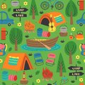 Seamless pattern with summer camping in forest