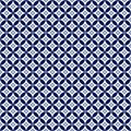 Seamless Dark Blue Geometric Flowers and Circles Pattern in White Background