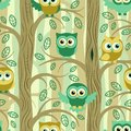stock image of  Owls in the summer forest seamless pattern.