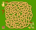 Logic puzzle game with labyrinth for children. Help the cat find the way till the mice. Printable worksheet for brainteaser book.