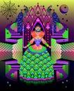 Fantasy illustration of ancient medieval fairy in fairyland kingdom. Fantastic Gothic environment.