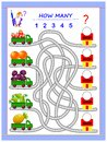 Logic puzzle game for little children. Where do the lorries have to deliver fruits? Count the quantity and write the numbers.