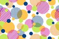 Seamless pattern of colorful dots and geometric circle modern on white background
