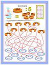 Exercises for kids with division table by number 5. Solve examples and write answers on cakes.