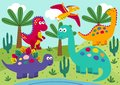 Cute Dinosaurs With Landscape ...