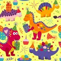Seamless Pattern With Cute Din...