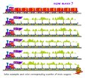 Educational page for children on addition and subtraction. Solve examples and color corresponding number of train wagons. Royalty Free Stock Photo