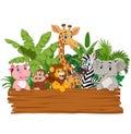 Cartoon wild animals holding blank board Royalty Free Stock Photo