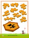 Logic puzzle game for children and adults. Find the missing part of honeycombs. Printable page for kids brain teaser book. Royalty Free Stock Photo