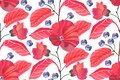 Art floral vector seamless pattern. Red mallows, branches, leaves, blue berries isolated on white background. Royalty Free Stock Photo