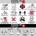 Coronavirus COVID-19 outbreak concept, infographic: symptoms, preand symptoms. Coronovirus alert. Virus protection tips. Royalty Free Stock Photo