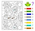 Math education for children. Coloring book. Mathematical exercises on addition and subtraction. Solve examples and paint elephant. Royalty Free Stock Photo