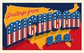 Greetings from Michigan USA. Retro style postcard with patriotic stars and stripes lettering Royalty Free Stock Photo